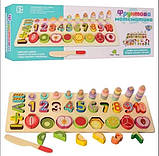 Развивающая игра Фруктовая математика деревянная игрушка геометрик, фото 3