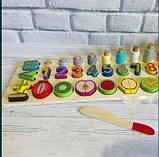 Развивающая игра Фруктовая математика деревянная игрушка геометрик, фото 4