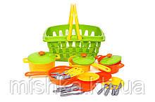 """Игрушка """"Набор посуды"""" с корзиной салатовый"""