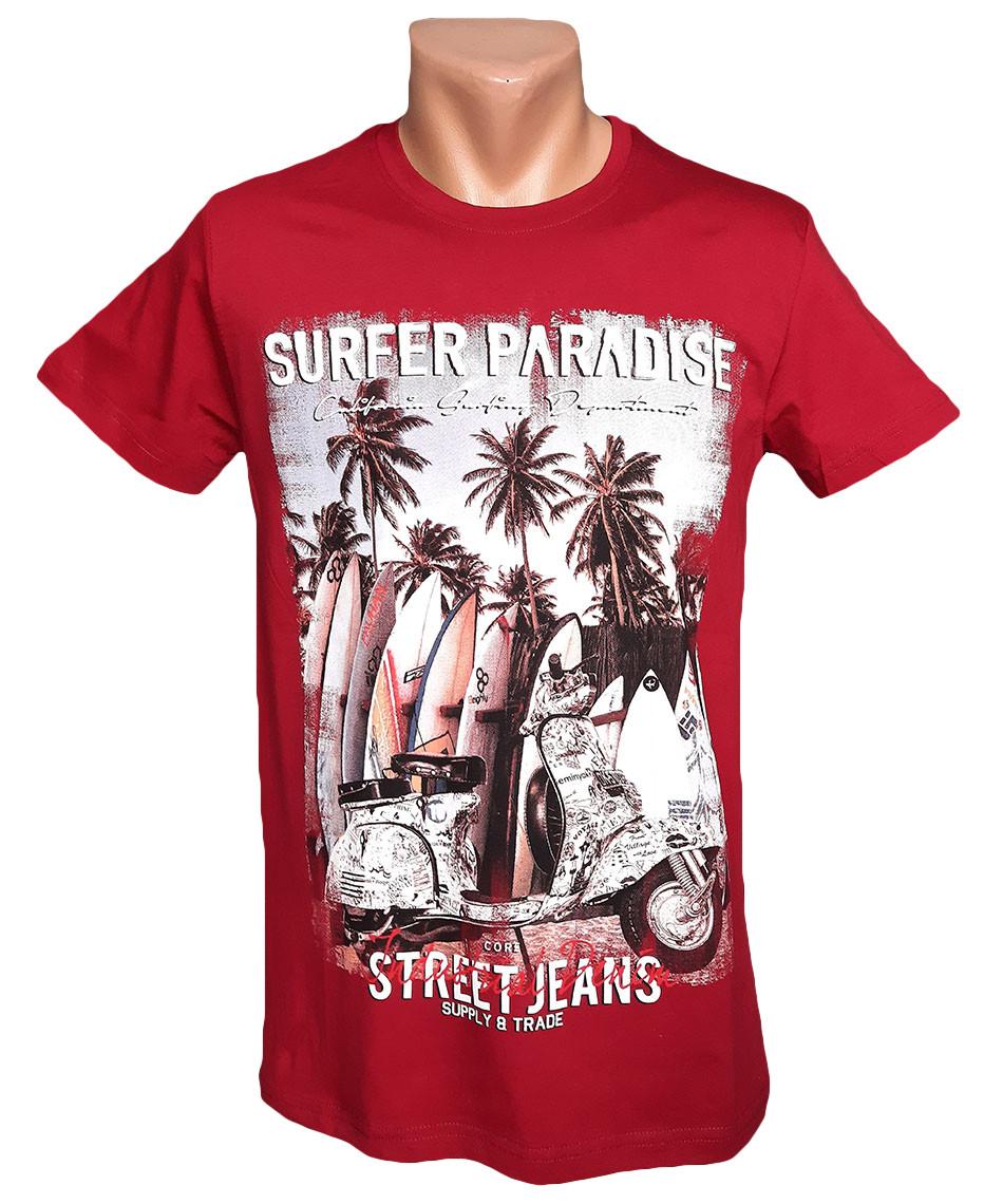 Мужская красная футболка Daniel and Jones - №5960