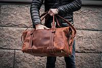 Сумка коричневая винтажная кожаная, Дорожная / Спортивная мужская сумка, фото 1