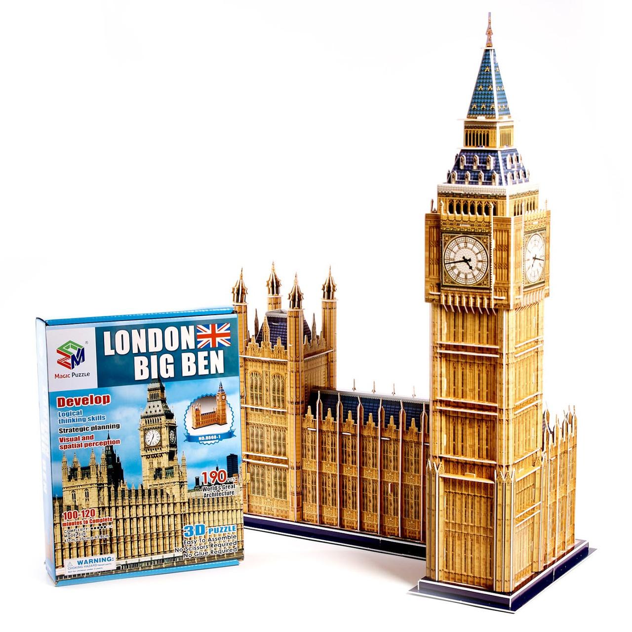 """Величезні 3д пазли """"Big Ben"""" Тривимірний конструктор-головоломка 63.8 см * 25 см * 47 см"""
