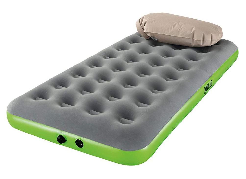 Одномісний надувний матрац з надувною подушкою Pavillo Bestway 67619, 99x188x22 см (сіро-зелений)