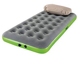 Одноместный надувной матрас с надувной подушкой Pavillo Bestway 67619, 99x188x22 см (серо-зеленый)