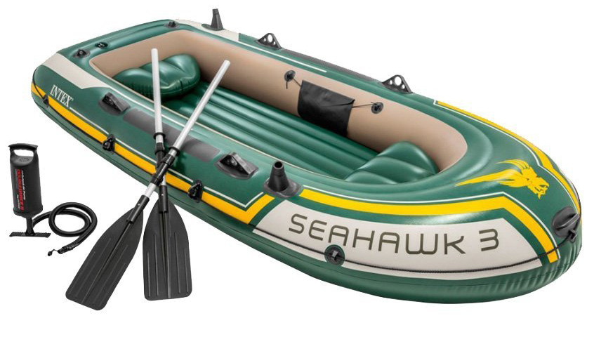 Тримісна Intex надувний човен 68380 Seahawk 3 Set з веслами і насосом 295 х 137 х 43 см