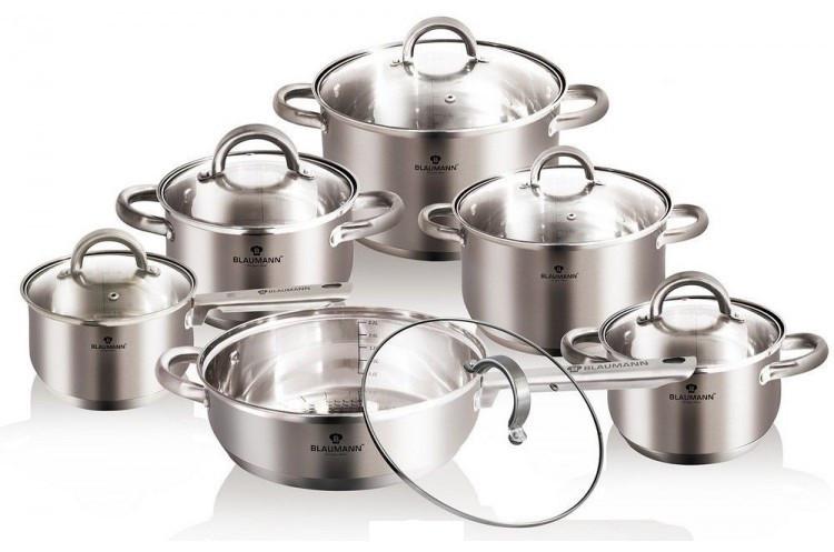 Стальной набор посуды 12 предметов Blaumann Gourmet Line BL-3152 с многослойным дном