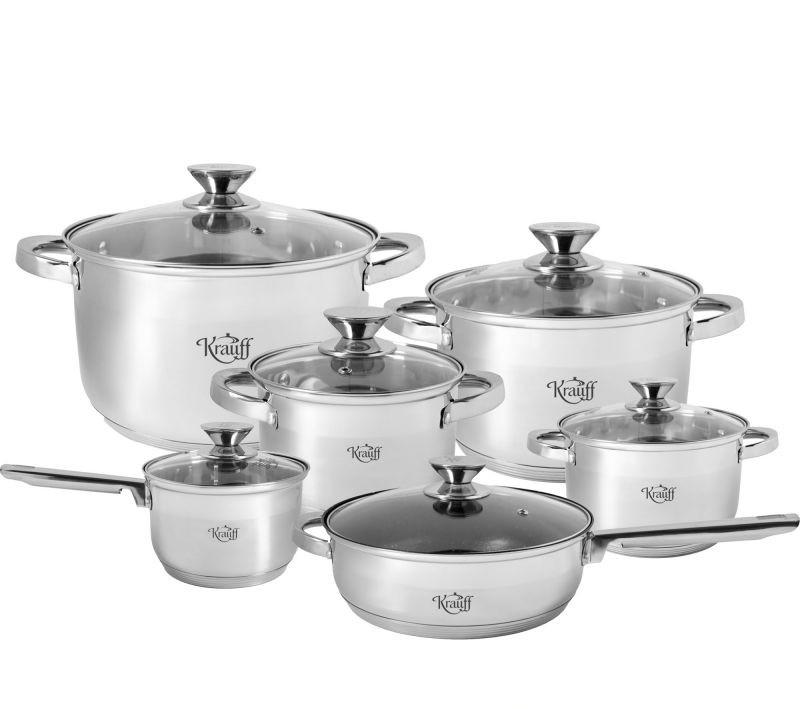 Стальной набор посуды 12 предметов Krauff Stein 88-222-006 с пятислойным капсульным дном