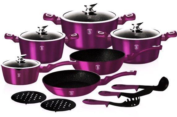 Алюминиевый набор посуды 15 предметов Berlinger Haus Metallic Line Royal Purple Edition BH-1662N с мраморным