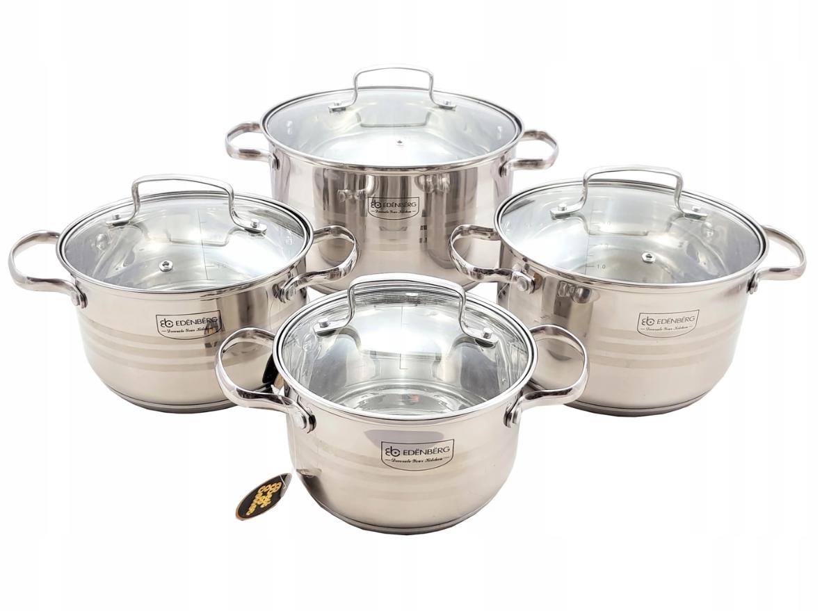 Стальной набор посуды 8 предметов Edenberg EB-4073 с многослойным дном