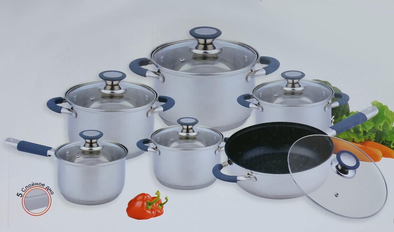 Набор кухонной посуды 12 предметов Benson BN-193 с пятислойным дном и силиконовыми вставками