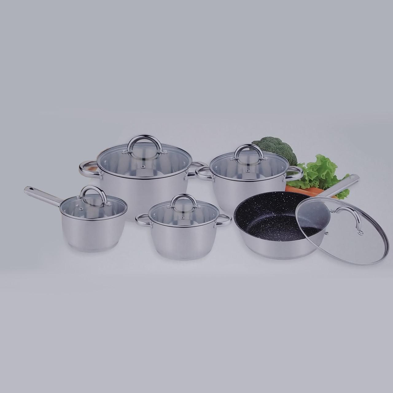 Стальной набор посуды 10 предметов Benson BN-291 с капсульным дном