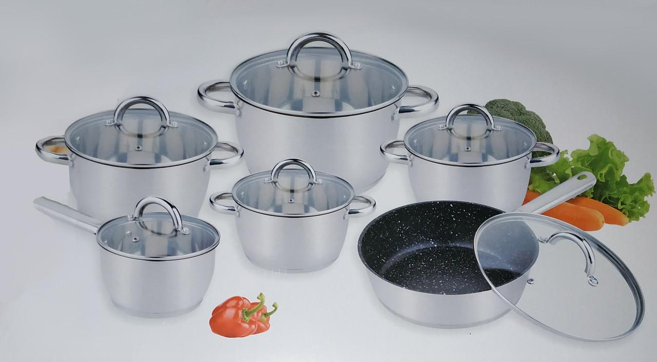 Стальной набор посуды 12 предметов Benson BN-292 с капсульным дном