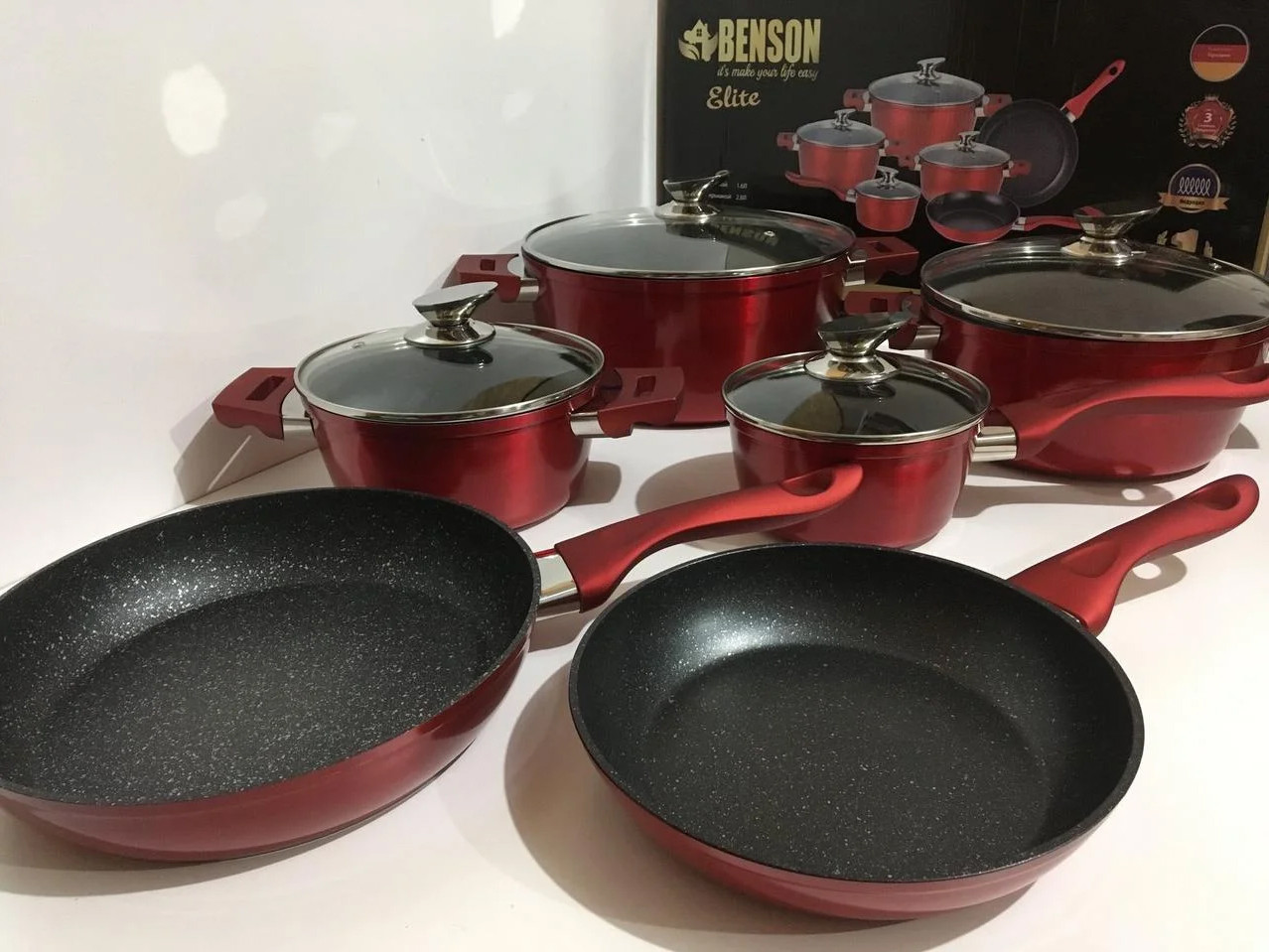 Набор кухонной посуды из литого алюминия Benson BN-335 10 предметов с мраморным покрытием