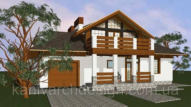 Проект одноповерхового з мансардним поверхом 4-кімнатного житлового будинку, фото 1