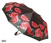 Зонт женский автомат черный с розами, фото 1