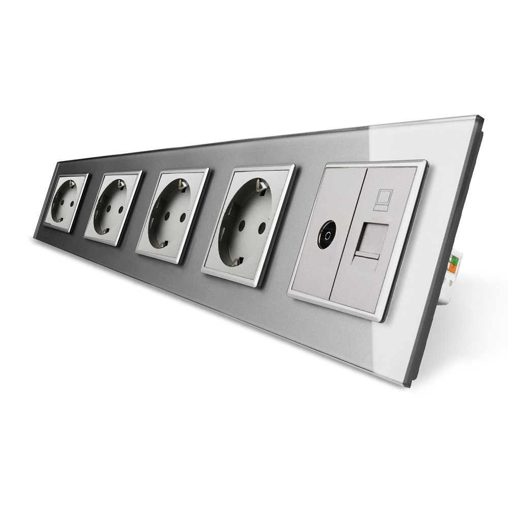 Розетка пятиместная комбинированная Силовая Интернет ТВ Livolo серый стекло (VL-C7C4EU1C1V-15)