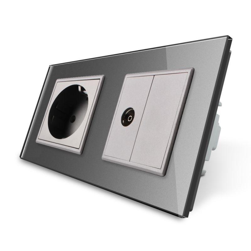 Розетка двухместная комбинированная Силовая ТВ Livolo серый стекло (VL-C7C1EU1VK0-15)