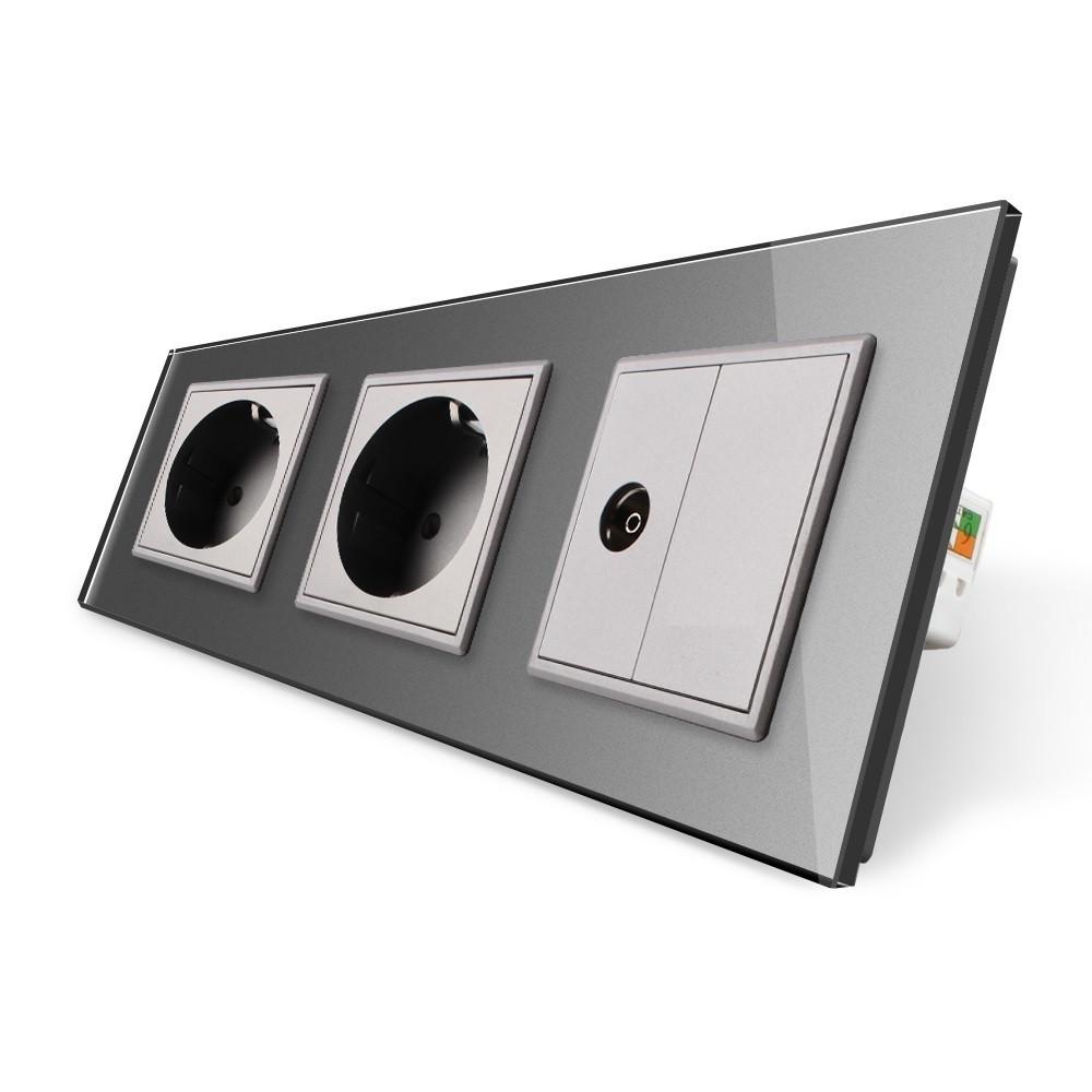 Розетка трехместная комбинированная Силовая ТВ Livolo серый стекло (VL-C7C2EU1VK0-15)