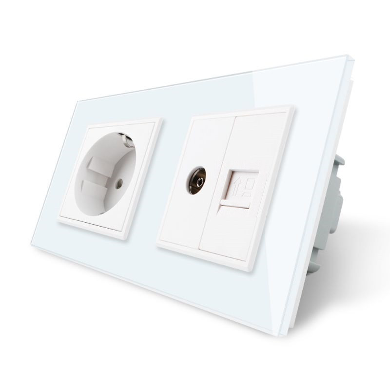 Розетка двухместная комбинированная Силовая Интернет ТВ Livolo белый стекло (VL-C7C1EU1V1C-11)