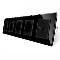 Розетка пятиместная комбинированная Силовая Интернет ТВ Livolo черный стекло (VL-C7C4EU1C1V-12)