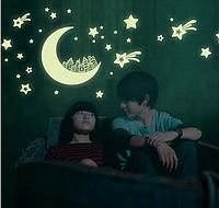 """Наклейка на стену, наклейка в детскую, наклейки на шкаф """"месяц и звезды"""" светятся в темноте 21*25см"""