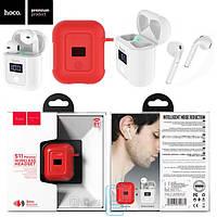 Bluetooth наушники с микрофоном Hoco S11 + red silicone case белые