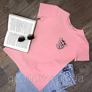 Женская футболка хлопок розовая с принтом Jerry джерри мышка Mouse
