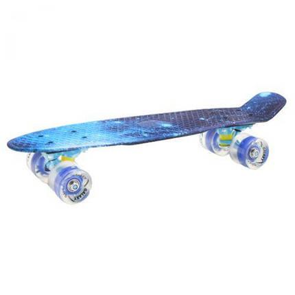 "Скейтборд ""Космос"" синий со светящимися колесами / Пенни Борд ""Космос"" синий со светящимися колесами, фото 2"