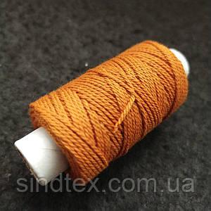 Универсальные оранжевые нитки для кожи обуви и декоративных швов, 300текс 100% полиэстер 25м (РАВ-1000)