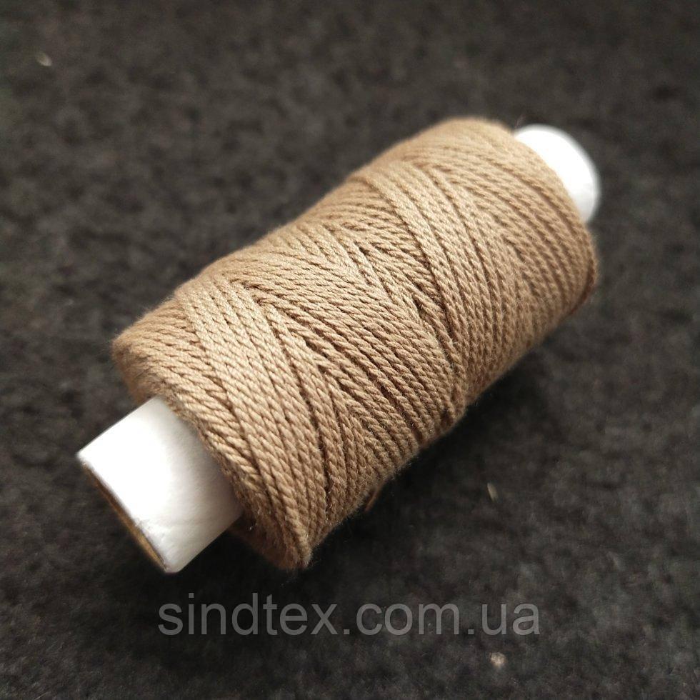 Універсальні бежеві нитки для шкіри взуття та декоративних швів, 300текс 100% поліестер 25м (РАВ-508)