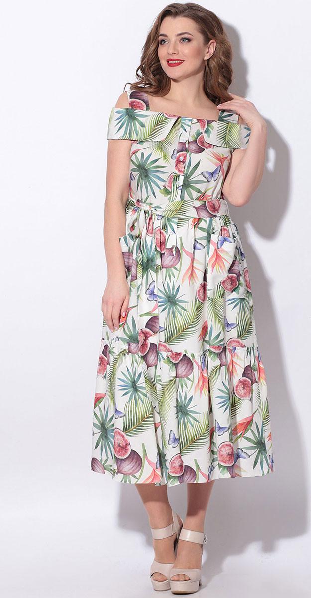 Платье LeNata-11115 белорусский трикотаж, фруктовый сад, 44