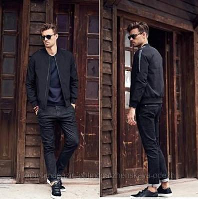 Мужская куртка бомбер, полиэстер, размер S, M, L, XL, черный