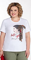 Блузка Pretty-1084 белорусский трикотаж, белый + шифон хаки, 50