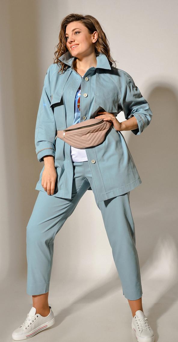Куртка Anna Majewska-A-219 B белорусский трикотаж, бирюза, 50