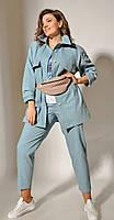 Куртка Anna Majewska-A-219 B белорусский трикотаж, бирюза, 50, фото 1