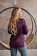 """Шелковая женская блуза-рубашка """"MUSCAT"""" с длинным рукавом (большие размеры), фото 3"""