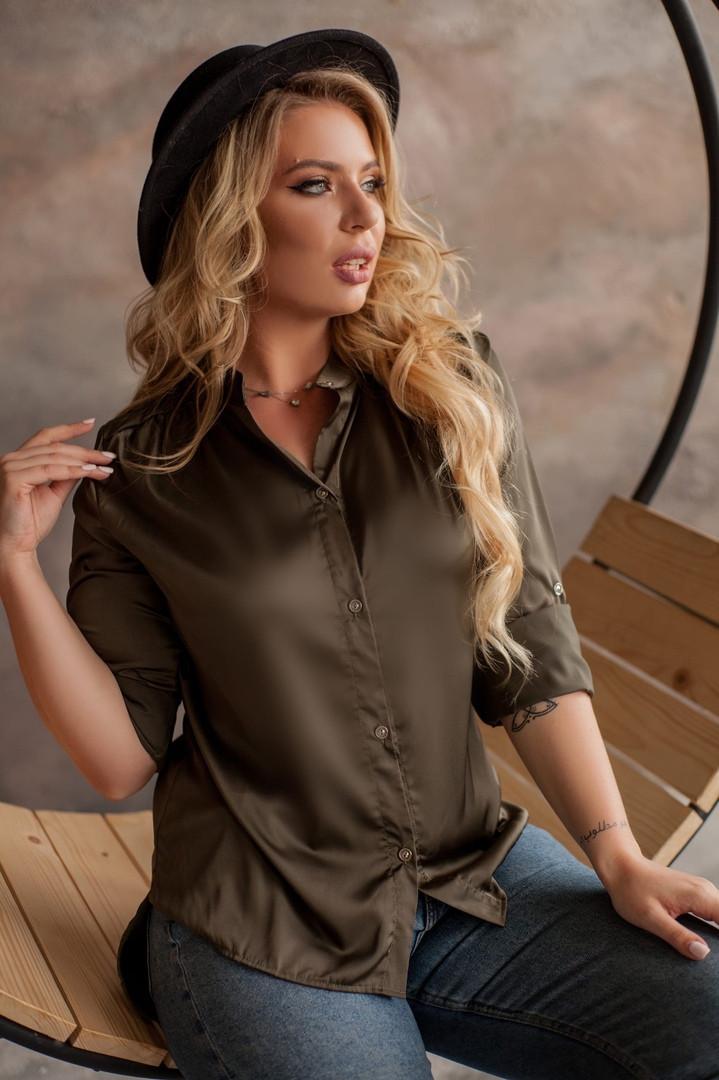 """Шелковая женская блуза-рубашка """"MUSCAT"""" с длинным рукавом (большие размеры)"""