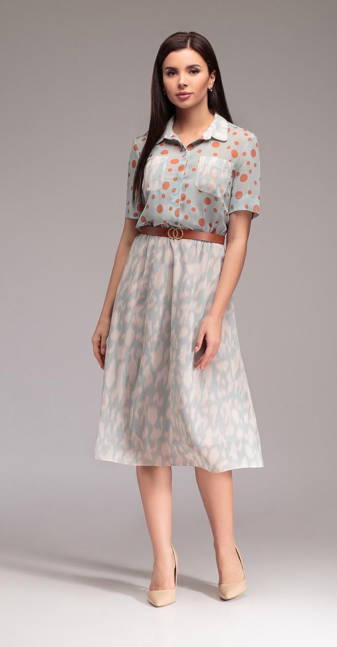 Платье Gizart-5067r белорусский трикотаж, голубые тона, 44