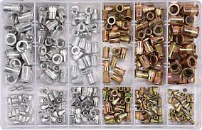 Заклепки резьбовые сталеві і алюмінієві з різними розмірами М3- М10, 300 шт. в футлярі, YT-36480 YATO