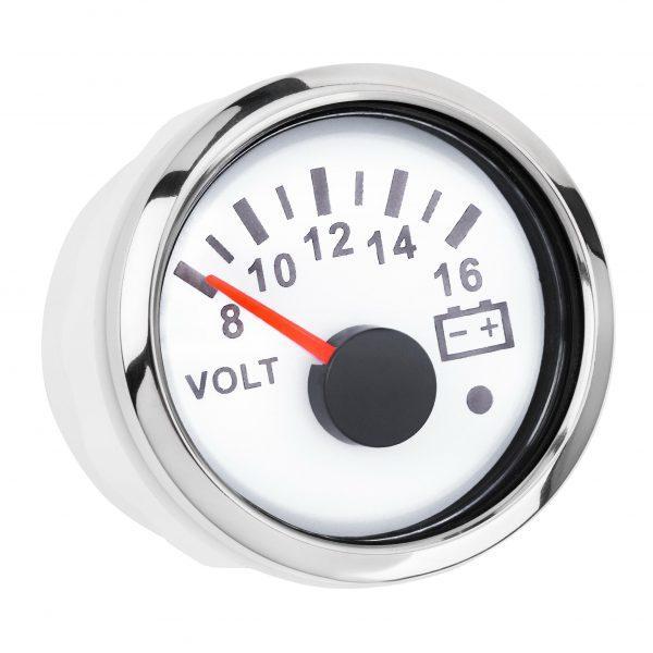 Вольтметр I GAUGE 52MM з функцією попередження (білий) LED дисплей, 8-16В