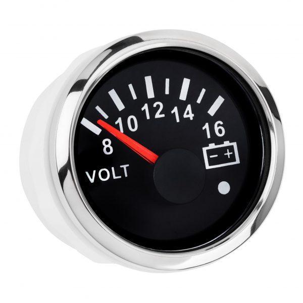 Вольтметр I GAUGE 52MM с функцией предупреждения (черный) LED дисплей 8-16В