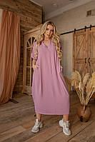 """Свободное льняное платье  """"EMILION"""" с коротким рукавом и карманами (большие размеры)"""