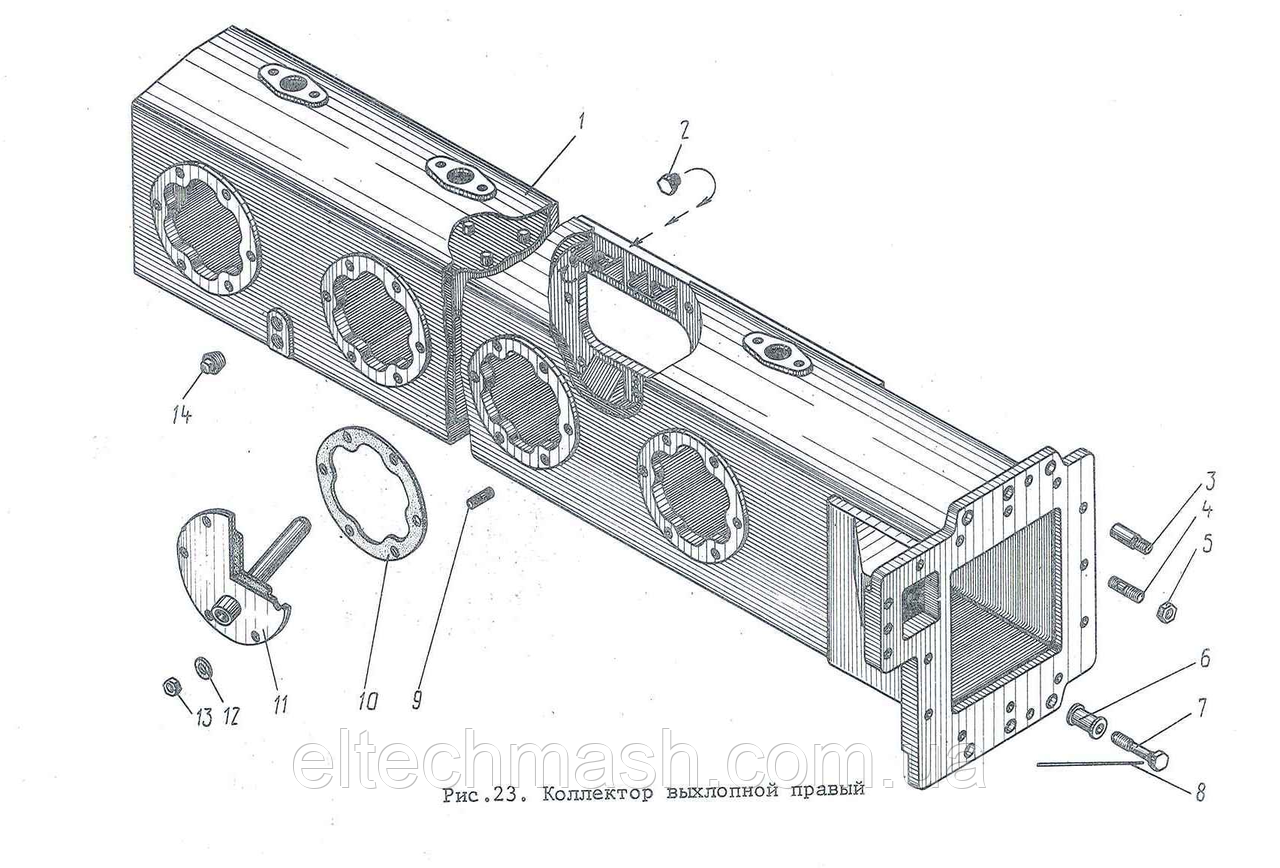 Коллектор выхлопной правый Д100.18.103сб-1