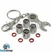 Набор колпачков для ниппеля (хромированные) с логотипом Volkswagen (Фольксваген)