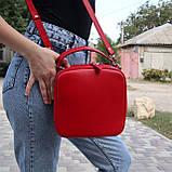 Сумка kvadrat красная из натуральной кожи kapri, фото 2