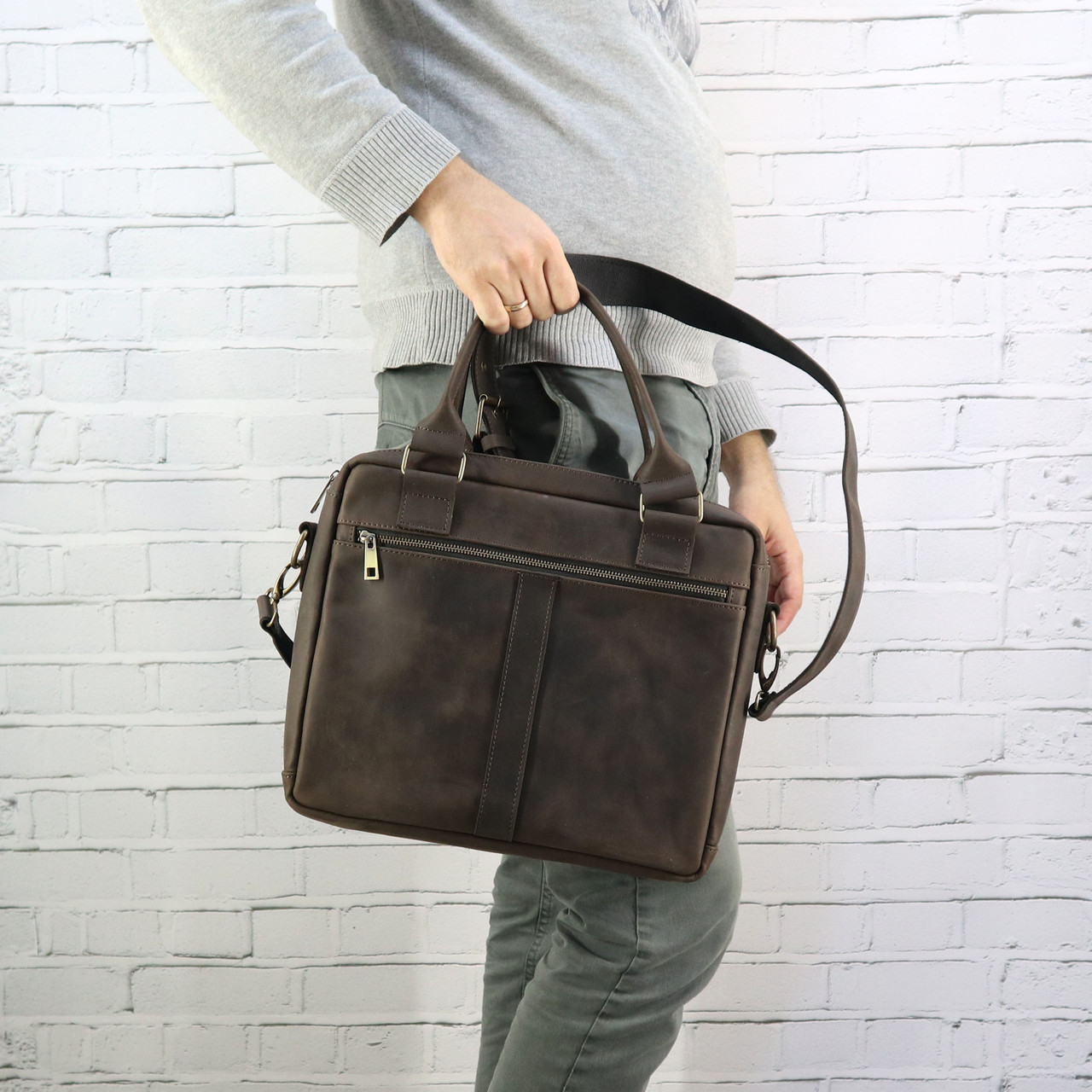 Портфель Mihey sv a4 коричневый из натуральной кожи crazy horse 1420602