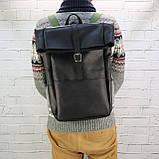 Рюкзак roll чёрный из натуральной кожи crazy horse, фото 2