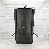 Рюкзак roll чёрный из натуральной кожи crazy horse, фото 3