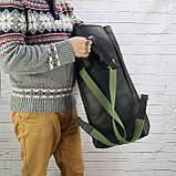 Рюкзак roll чёрный из натуральной кожи crazy horse, фото 4