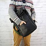Рюкзак roll чёрный из натуральной кожи crazy horse, фото 5